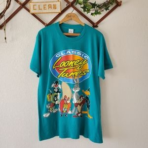 Vtg 90's Classic Looney Tunes Gang Character Tee